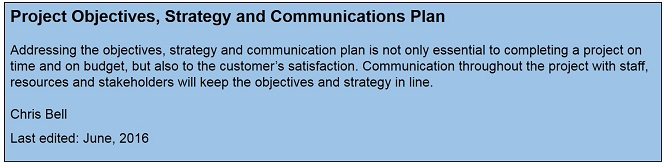 Project Objectives, Strategy and Communications Plan