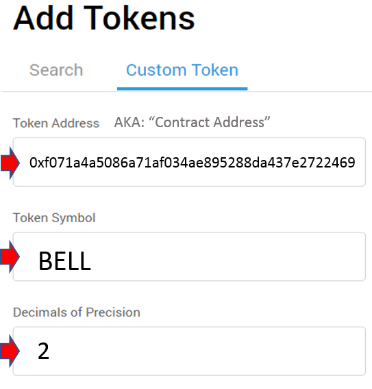 Adding BELL Token Information