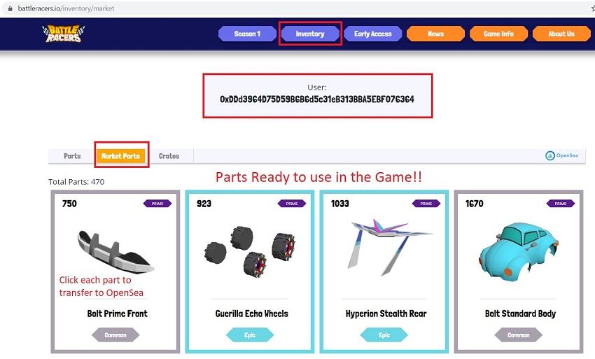 Battle Racers Inventory Parts