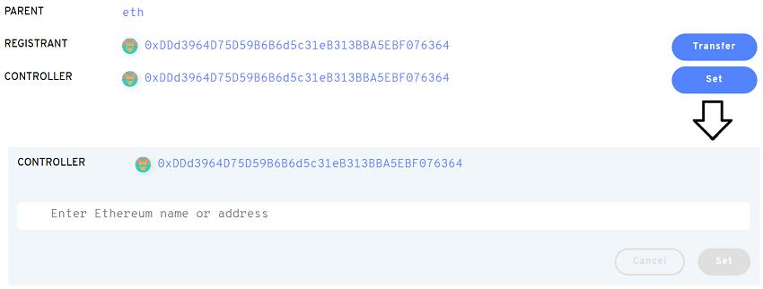Set Controller Ethereum ENS Names