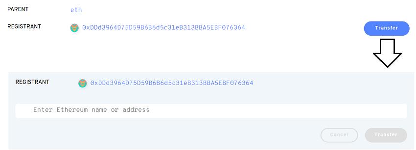 Transfer Ethereum ENS Registrant