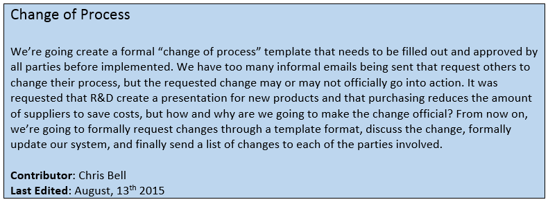 Change of Broken Process Memo - Communications Manager