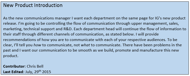 New Product Introduction Memo Communications Manager Chris Bell